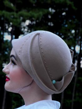 Beige Cloche with Glass Bead Detail by Aquae