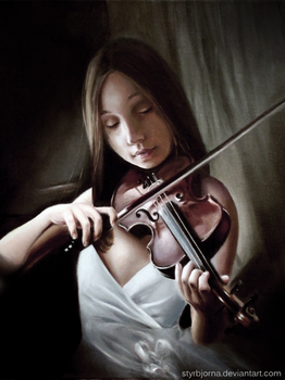 Girl playing the violin by RinFaye