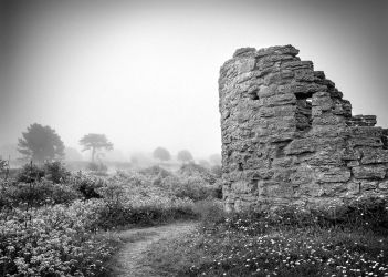 Visby town wall in mist by Basement127