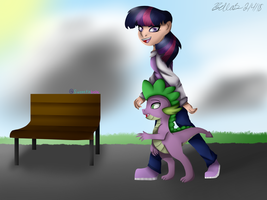 Twilight and spike walking through the park by sweeetiebelle