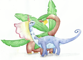 Aurora and Tropius by CarthageNut