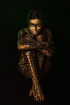 Brunette woman with body art by Black-Bl00d