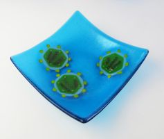 Bacteriophage phi6 Fused Glass Dish 3 by trilobiteglassworks