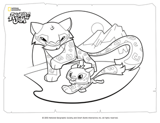 Animal Jam Coloring Page Snow Leopard And Her Cub By DigiPonyTheDigimon On DeviantArt