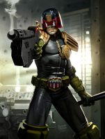 Dredd  2000ad prog 1929 cover by ryanbrown-colour