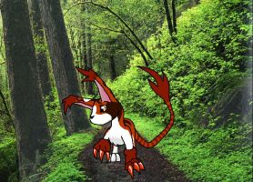 Mikemon in a forest by Talec