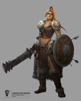 Character Design: Barbarian by adelair