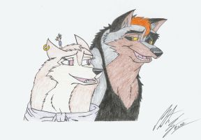 Bela the Siberian Husky and Kitara the wolfhound by MortenEng21