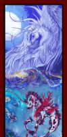Unicorn And Nishikigoi Abathia Poster Koi Horse by StephanieSmall
