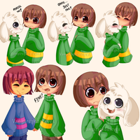 Asriel, Chara, and Frisk by Vampireghosteyesvc