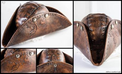 Leather Tricorn Hat by Adhras