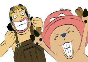 Ussop and chopper's  Crazy faces by adenisesuarez
