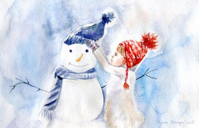 Girl and snowman by Elizaveta-Melentyeva