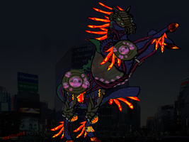 Uchu Nouma the horse kaiju rearing up by Kyotita