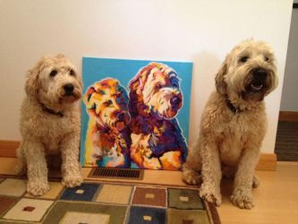 Max and Maggie and their painting by dawgart