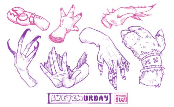Sketchurday #46 - Fantasy Humanoid Hand Studies by moondustowl