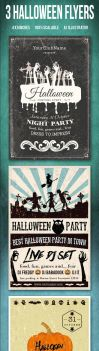 3 Halloween Flyers/Cards Vintage Typography by another-graphic