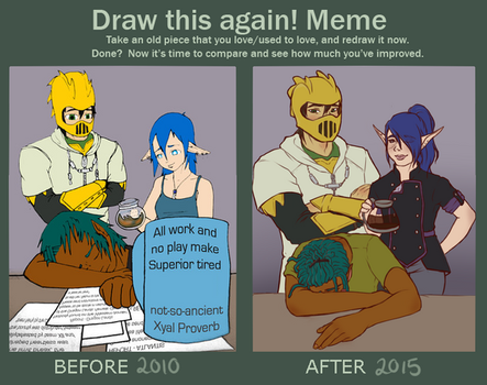 re:drawthismeme - All Work And No Play by tricneu