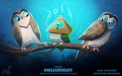 Daily Paint 2018# Owlluminati by Cryptid-Creations
