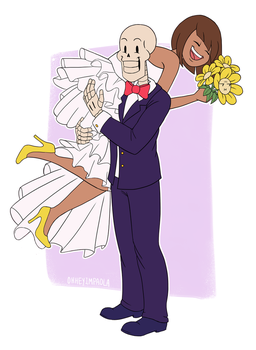 Papyrus and Frisk Wedding by ohheyimpaola