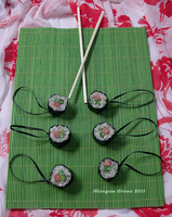 Salmon Roll Maki Glitter Sushi Ornaments 2 by MorganCrone