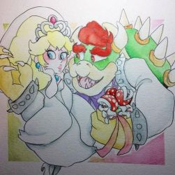 Bowser and Peach by SheepSketch