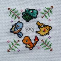 Pokemon emboidery for a biscornu (a little pillow) by didi-gemini