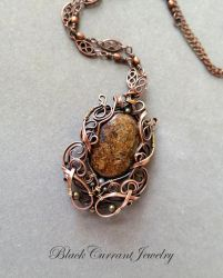 Bronzite and Copper Art Nouveau Pendant by blackcurrantjewelry