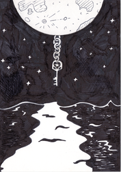 Inktober Day 26 - Moon, Key and Sea by WendyW