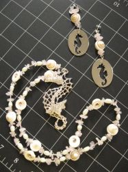 Seahorse Necklace and Earrings by TheBittenStone
