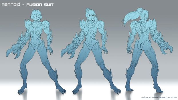 Metroid Fusion Redesign (Lines) by imDRUNKonTEA