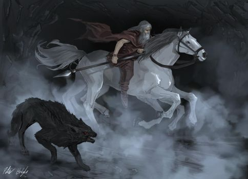 Odin rides Sleipnir to Hel by PeterPrime
