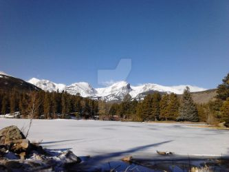 Frozen Sprague Lake and Mountains by ElkStarRanchArtwork