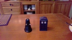 Doctor Who salt and pepper shakers by Dracorider19