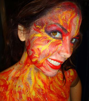 Fire body paint 3 by stinafacexd