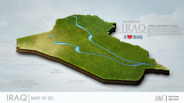 Map of Iraq in 3D by zaioody20