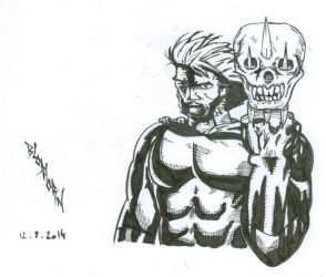 Wolverine with sabertooth head by Blod931