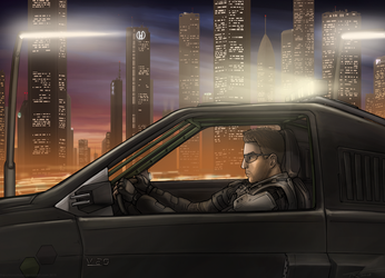 Drive by Dusk (Commission) by The-Chronothaur