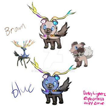 Rockruff and Xerneas fusion by Espeon9488