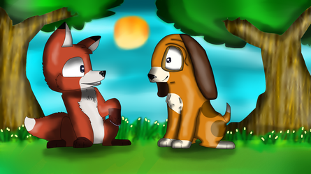 The fox and the hound by GreenkaWorks
