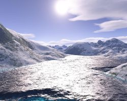 river in mountains by TokenArt