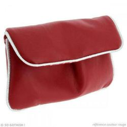 Fake leather red  silver pouch by Zengia