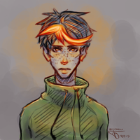 .:The Boy With The Glowing Hair:.   Sketch by maakurika