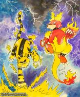Electabuzz vs Magmar by BetaPunkDrawings