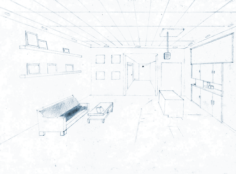 One Point Perspective (Room Layout) by papermario13689