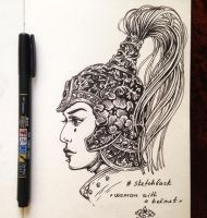 Daily Sketch: Woman with a helmet by dimary