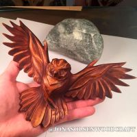 WOODEN OWL SCULPTURE FINISHED by JonasOlsenWoodcraft