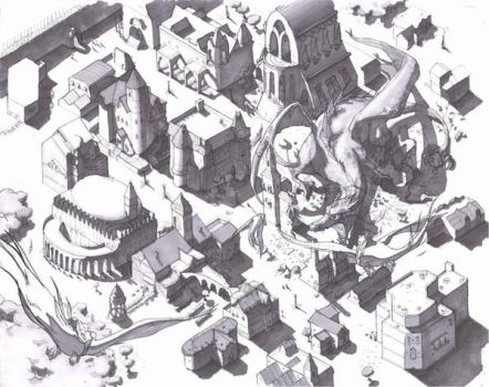 Isometric view of city. by Xenogia