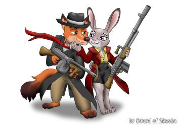 Nick Wilde and Judy Hopps Gangstas by Sword-of-Akasha