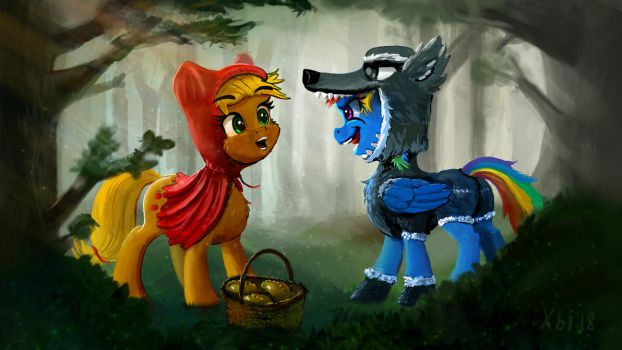 Red Hood Applejack and the wolf Rainbow Dash by xbi
